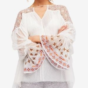 Free People M Joyride Sheer Embroidered Top ac265